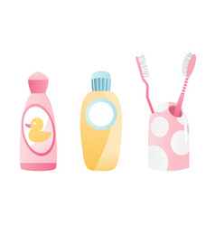 Bathroom equipment toothbrush and mouthwash vector