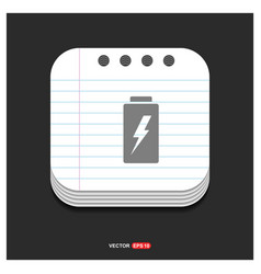 battery icon gray icon on notepad style template vector image