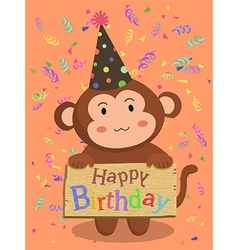 Birthday Monkey Cartoon vector image