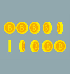 bitcoin rotating gif animation sprite sheet on vector image