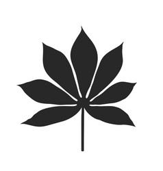 black cassava leaf silhouette on white background vector image