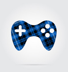 Blue black tartan isolated icon - gamepad vector