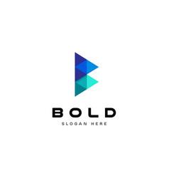 blue geometry letter b logo design vector image