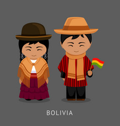 bolivians in national dress with a flag vector image