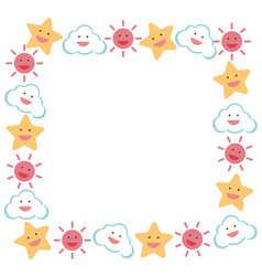 Border template with star and sun vector