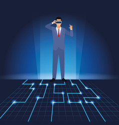 Businessman with virtual glasses vector
