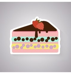 Cake with raspberry flat icon vector image
