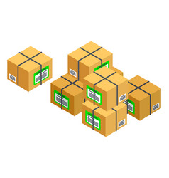 Cardboard packaging boxes parcels packaged goods vector