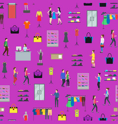 cartoon people in clothing store seamless pattern vector image