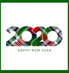 Check plaid tartan style 2020 happy new year gift vector