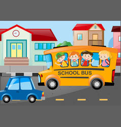 children riding school bus on the road vector image