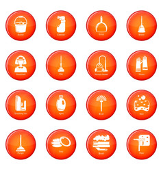 cleaning tools icons set red vector image