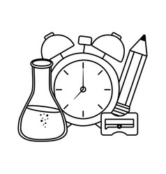 Clock and school supplies design vector