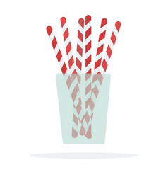 cocktail straws in a glass flat isolated vector image