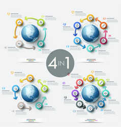 collection 4 creative infographic design vector image