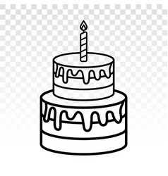 Colorful birthday cake candles with line art vector