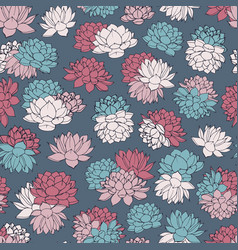 colorful hand drawn water lilies seamless pattern vector image