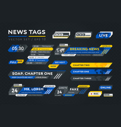Colorful tags for news broadcast vector