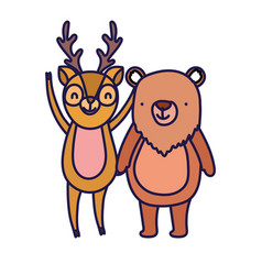 cute deer and bear cartoon on white background vector image
