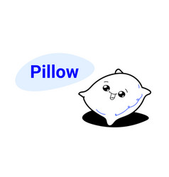 cute soft bed pillow cartoon comic character vector image