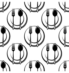 Cutlery and dishware seamless pattern vector image