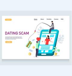 Dating scam website landing page design vector