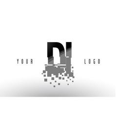 Di d i pixel letter logo with digital shattered vector