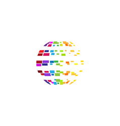 digital colorful planet pixel circle logo vector image