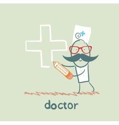 Doctor draws a cross in pencil vector