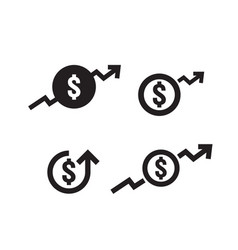 dollar increase icon set money symbol with arrow vector image