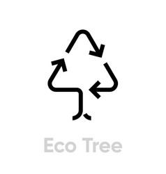 Eco tree recycle icon editable line vector