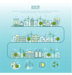 ecology city infographic template with vector image