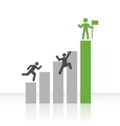 Flat Bar Chart with Climbing Men vector image