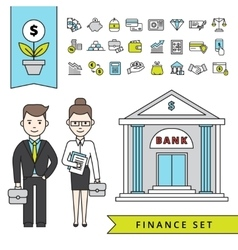 Flat Finance Concept With Businessman And Bank vector