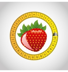Fresh fruit with tape measure vector