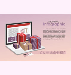 gifts with open laptop - online shopping vector image