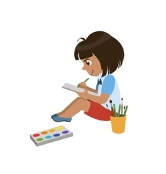 Girl Sketching In Notebook vector