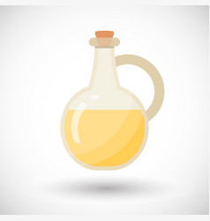 Glass bottle with liquid flat icon vector