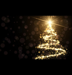 golden background with christmas tree vector image