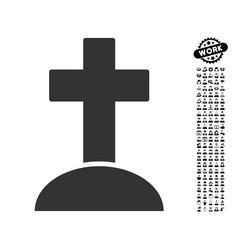 Grave icon with work bonus vector