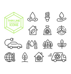 Green energy nature help thin line icon set vector