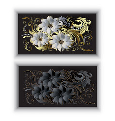 greeting cards with white and black 3d vintage vector image