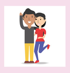 happy couple lover with romantic relationship vector image