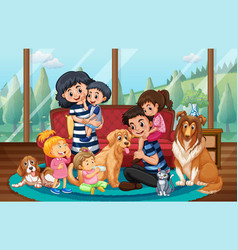 happy family staying at home vector image