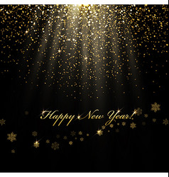 Happy New Year greetings and golden lights vector image