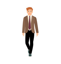Happy schoolboy in brown jacket vector
