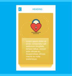heart lock mobile vertical banner design design vector image