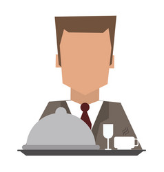 Hotel recepcionist with dinner vector