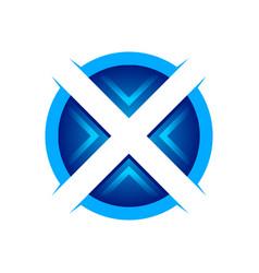 Initial x circular edgy technology symbol logo vector