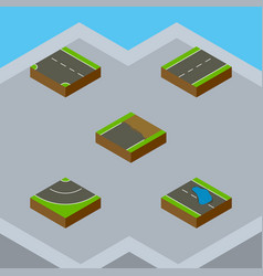 Isometric road set of plash downward driveway vector
